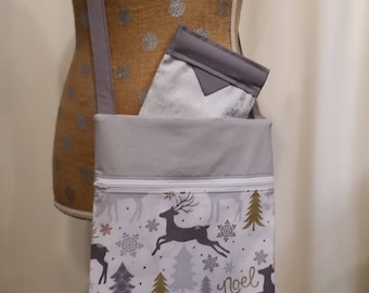 Handmade Purse by CMarie with Christmas Snow & Deer Cotton Fabric