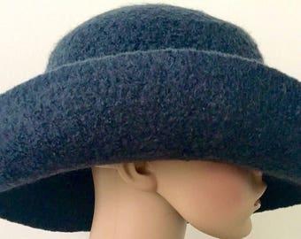 Wool Hat, Felt Hat, Wide Brim Felt Hat, Handmade Felt Hat, Women's Trendy Hat, Felted Wool Hat, Gray  Cloche Hat, Gray Felt Hat, Felt Cloche