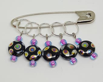 Ring Stitch Markers - Puddle Rainbows
