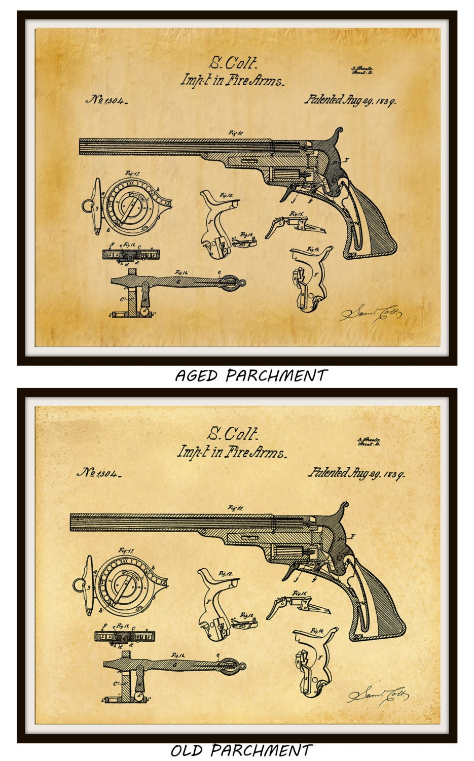 1839 Colt Revolver Patent Print Invented by Sam Colt - Firearms Wall ...