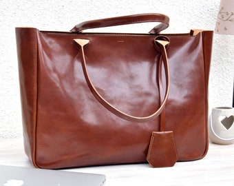 Brown Leather Tote - BELLA VOLUME - Cognac Brown Leather Tote - Leather Laptop Bag - Tote Bag With Pockets - Brown Tote Bag - Shoulder Bag