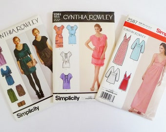 LOT 3 Cynthia Rowley Sewing Patterns Miss Dresses, Skirts, Tunic Tops, Simplicity 2305, 2361, 2587 All Same Multi Sizes 4 6 8 10 12 UNCUT