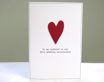 2nd wedding anniversary card romantic hessian and red heart