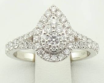 Pre-Owned Vera Wang Love Diamond Encrusted Ring in a 14K White Gold FREE SHIPPING #VWANG-GR4