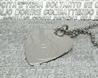 Engraved sterling silver plectrum