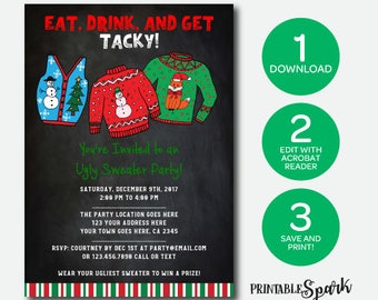 Ugly Sweater Editable Instant Download Invitation, Holiday Party, Christmas Invitation, Edit Yourself!