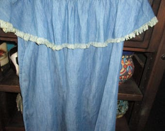Denim/Blue Jean Short Peasant Dress w/Natural Fringe on Top and Bottom
