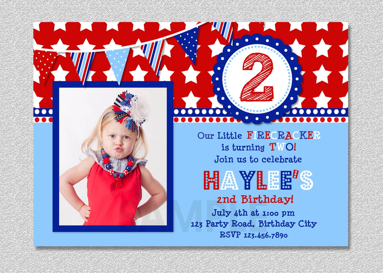 4th of july birthday invitation red white and blue birthday zoom bookmarktalkfo Image collections