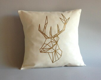 Gold Throw pillow cover with geometric deer - origami deer pillow cover - abstract deer cushion cover - gold pillowc - antlers pillow