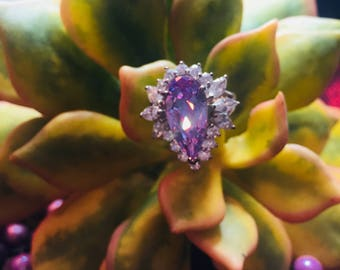 Super Sparkly Lavender Statement Ring Size 7