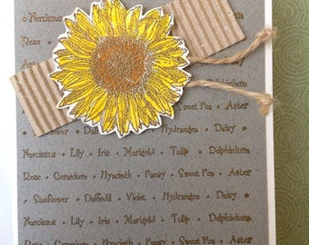 Handmade card- all occassion- Homegrown- gardening card- male or female- blank card-friendship card- friend card-sunflower card- flower card