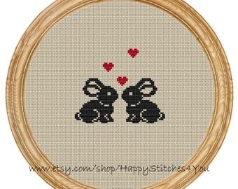Cross Stitch Pattern PDF love bunny  DD0144