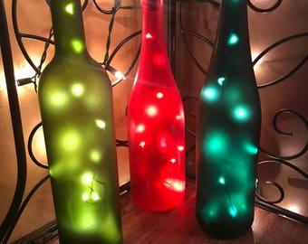 Christmas light bottles