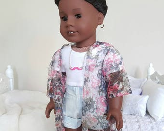 18 inch doll pink and grey kimono   lace kimono