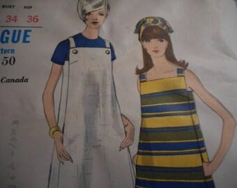 Vintage 1960's Vogue 7029 Mod Jumper and Dress Sewing Pattern Size 14 Bust 34