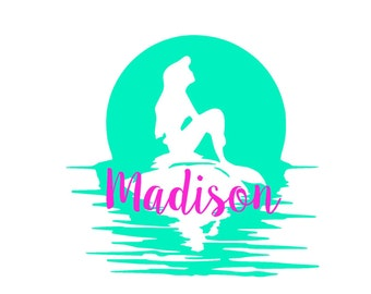 Personalized Little Mermaid Ariel Sunset Decal with Name, Yeti, RTIC, car decal, disney decal, laptop decal