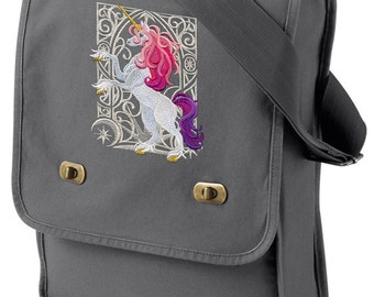 Unicorn Nouveau Embroidered Canvas Field Bag