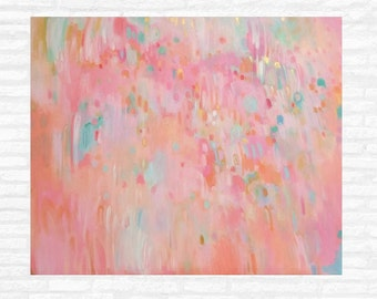 Pink Coral and Gold Abstract Painting Pink and Coral Wall Art Pink and Gold Nursery Art Ready to Hang, Gold Coral and Aqua Abstract Painting