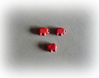 3 elephant beads 15 * 10 mm red howlite