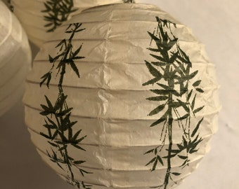 Set of 4 Asian Japanese Chinese Paper Lantern Bamboo-4 Plain Cream Color