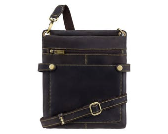 VISCONTI Slim Leather Bag - Distressed Brown Leather Bag - Cross Body Bag - Handmade Leather Bag - Neo (S) - Hunters Collection - 18511