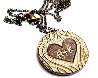 Personalized Necklace. Wood You Love Me - Faux Bois Jewelry. Anniversary Gift. Custom Initial Necklace.