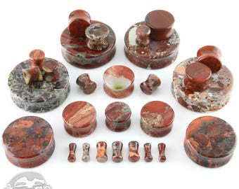"Red Brecciated Jasper Stone Plugs - Sizes / Gauges (8G up to  1 & 1/2"" Inch)"