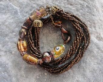 Brown Chunky Bracelet - Layer Statement Bohemian Bracelet