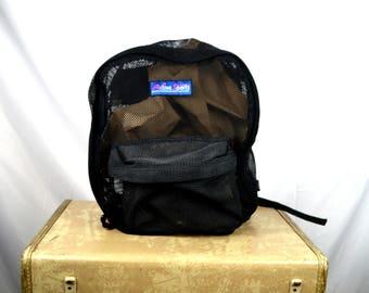 Vintage 90s Mesh Black Backpack