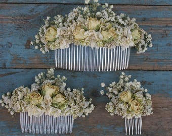 Darling Rose Bud CREAM Dried Flower Hair Combs
