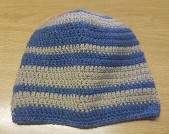 Blue&baige striped crochet beanie