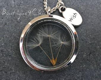 Dandelion necklace, Real Dandelion necklace, dandelion locket, wish necklace