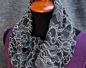 Black Lace Scarf, Lace Scarf, Black Infinity Scarf, New Years Eve, Fancy Scarf, Fashion Scarf, Infinity Scarf, Dressy, Unique Scarf, Cowl