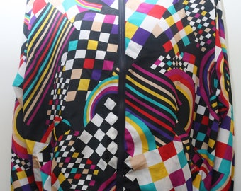 "Rare 80's Vintage ""NATALIE"" Funky Patterned Colorful Bomber Jacket Sz: MEDIUM"
