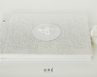 Handmade Lace Photo Album - Luxury Christening Photo Album - Little Angel Detail - Original Gift For Everyone - French Lace