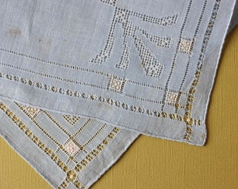 Elegant Vintage Handkerchief in Light Blue with P Monogram
