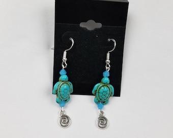 Blue Howlite Sea Turtle Crystal Wave Dangle Drop Earrings
