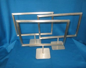 THREE Sturdy Metal Store Display Counter Sign Stand Holders Lot C