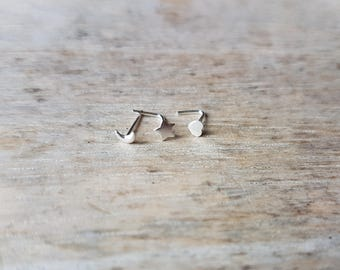 Sterling silver shaped nose stud 3mm celestial star moon crescent heart boho jewellery Easter jewelry best selling item silver