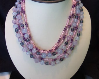 Miriam Haskell Opalescent, Pink & Purple Glass Bead Victorian Multi Strand Brass Necklace