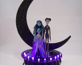 Corpse Bride & Victor Wedding Cake Topper White GOTHIC LIGHTS