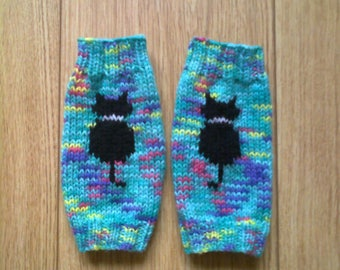 Black kitty cat wrist warmers - green turquoise pink purple yellow - fingerless gloves