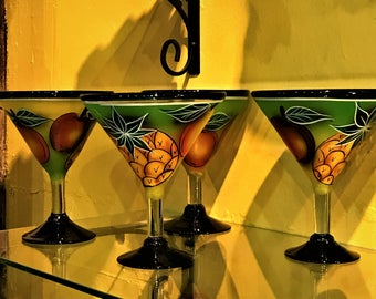 Hand Painted Hand blown One of a kind Margarita glasses