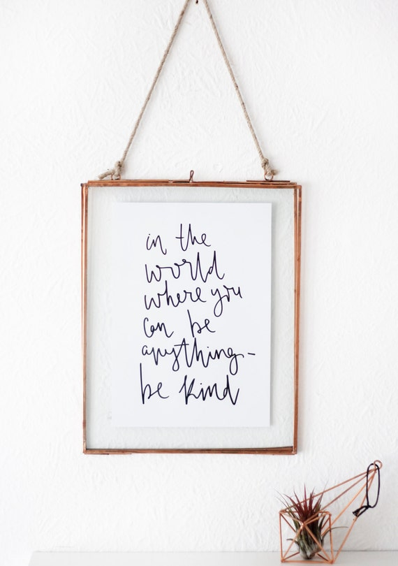 Hand Lettered Print A5 Inspirational Quote Calligraphy Script