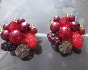 "Vintage Clip-On Berry Cluster Earrings Marked ""Germany"" ~ Beautiful Pops of Color for Your Ears"