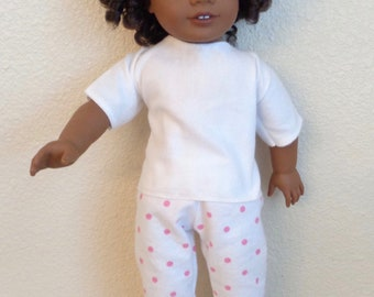 Two-Piece PJ Outfit/White, Pink Polka-dots