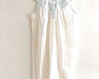 Vintage Nightgown Blue Embroidered Lace Mid Length Cotton Blend Nightie