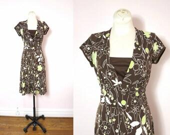 Vintage Brown Dress | 1990s Brown Floral Print Dress Size S
