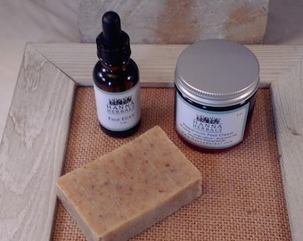 Herbal Spa Gift Set - Face Elixir - Peppermint Foot Cream - Herbal Soap - Exfoliating Bar
