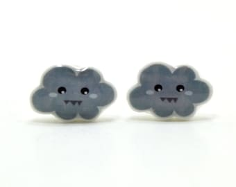 Stormy Gray Cloud Earrings | Sterling Silver Posts Studs | Gifts For Her